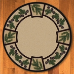 8' Valley Forest Nature Pinecones Round Rug