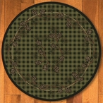 8' Wooded Pines Green Nature Round Rug