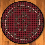 8' Wooded Pines Red Nature Round Rug