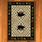 8' x 11' Patchwork Bear and Pinecones Natural Wildlife Rectangle Rug