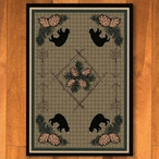 8' x 11' Pinecones and Bears Green Wildlife Rectangle Rug