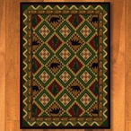 8' x 11' Quilted Forest Woodland with Bears Wildlife Rectangle Rug