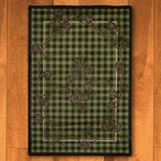 8' x 11' Wooded Pines Green Nature Rectangle Rug