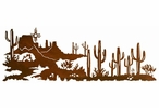 "84"" Desert Scene with Cactus and Sun Metal Wall Art"