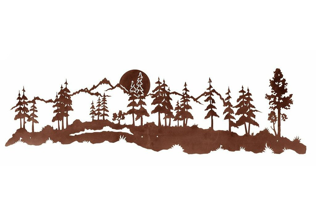 84 Midnight Moon And Forest Metal Wall Art