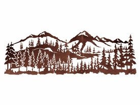 84 Mountain Scene With Pine Trees Metal Wall Art