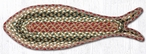 "9"" x 26"" Olive Burgundy Gray Fish Shaped Braided Jute Rugs, Set of 2"
