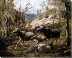 A Family of Moose Wrapped Canvas Giclee Print Wall Art