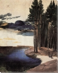A Lake Surrounded by Pine Trees Wrapped Canvas Giclee Print