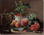 A Still Life of Figs, Peaches and Raspberries Wrapped Canvas Art Print