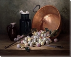 A Still Life of Plums and Jam Making Utensils Wrapped Canvas Art Print