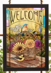 A Summer Bouquet Songbirds Stained Glass Welcome Wall Art