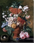 A Vase of Rich Summer Flowers Wrapped Canvas Giclee Print