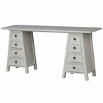 Abbington Brushed White Linen Frame Wood Console Table