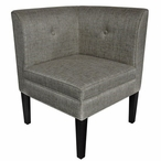 Abbott Button Tufted Corner Linen Wood Chair