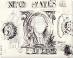 Abstract One Dollar Bill Drawing Wrapped Canvas Giclee Print