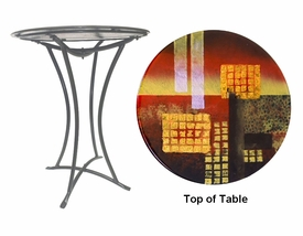 Abstract Shapes Fused Glass Metal Table