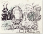 Abstract Twenty Dollar Bill Drawing Wrapped Canvas Giclee Print