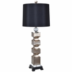 Addison Resin and Crystal Table Lamp with Black Silk Shade