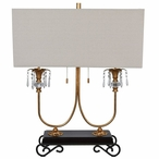 Adriana Metal Table Lamp with Natural Linen Shade