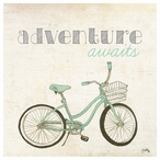 Adventure Awaits Bicycle Absorbent Beverage Coasters, Set of 12