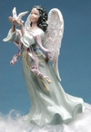 African American Angel Holding a Dove Bird Musical Music Box Sculpture