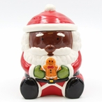 African American Santa Holding a Gingerbread Man Porcelain Cookie Jar