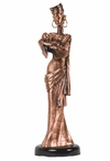 African Lady with Baby Statue - Copper Finish