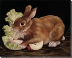 Afternoon Apple Bunny Rabbit Wrapped Canvas Giclee Print Wall Art