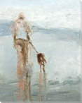 Afternoon Stroll with Dad Dog with His Dad Wrapped Canvas Giclee Print