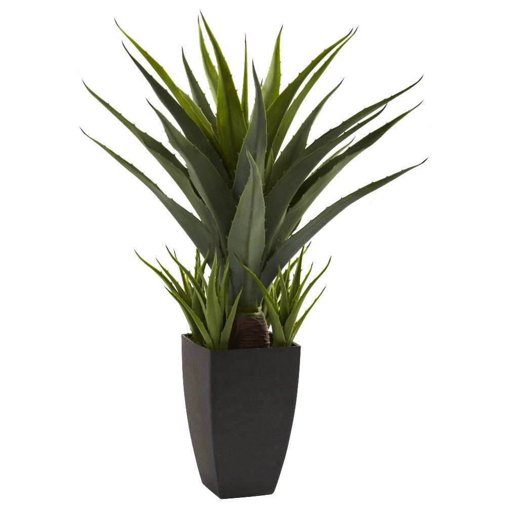 Agave silk plant with black planter artificial plants for Decorative plants for garden