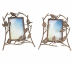 Aged Bronze Metal Picture Frames with Birds & Owls, Set of 4