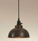 Aged Copper Dome Pendant Lamp Light