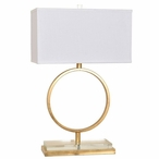Aldrich Metal and Crystal Table Lamp with White Linen Shade