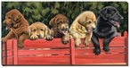 All Aboard Lab Puppies Wrapped Canvas Giclee Print Wall Art