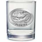 Alligator Pewter Accent Double Old Fashion Glasses, Set of 2