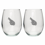Alligator Pewter Accent Stemless Wine Glass Goblets, Set of 2