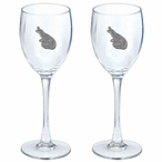 Alligator Pewter Accent Wine Glass Goblets, Set of 2