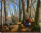 Along the Fence Turkeys and a Deer Wrapped Canvas Giclee Print