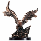 American Eagle with Flag Statue - Copper Finish