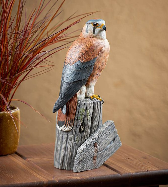 American Kestrel Falcon Bird Hand Painted Sculpture - Wild ...