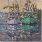 American Shrimpers Ships Wrapped Canvas Giclee Print Wall Art