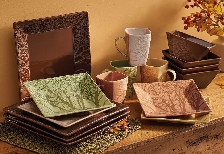 Among Trees Stoneware Dinnerware Set 16 Piece & Among Trees Stoneware Dinnerware Set 16 Piece - Nature Tableware ...