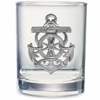 Anchor Pewter Accent Double Old Fashion Glasses, Set of 2