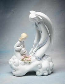 Angel and Girl Watering Flower Porcelain Figurine Sculpture