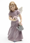Angel Holding Flowers and Wearing a Lavender Dress Porcelain Sculpture
