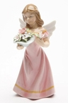 Angel Holding Flowers and Wearing a Pink Dress Porcelain Sculpture