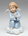 Angel Kneeling and Praying Porcelain Sculpture