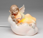 Angel Reading to Teddy Bear Plug-in Porcelain Night Lights, Set of 2
