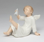 Angel Ringing a Bell Porcelain Sculpture